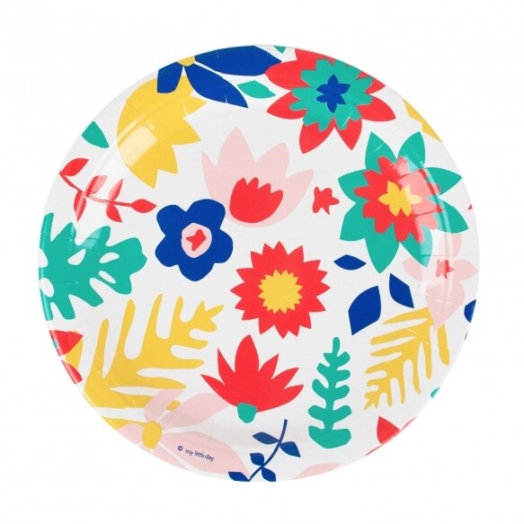 8 Paper plates - tropical flowers