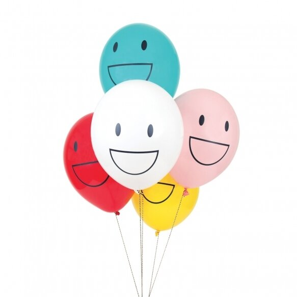 5 patterned balloons - happy faces