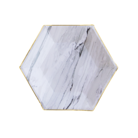 8 Paper Plates - Marble Hexagon Small