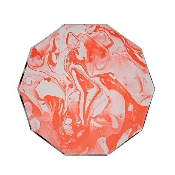 8 Paper Plates - Marble Neon Orange Pattern Small