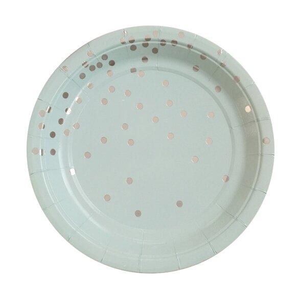 8 Paper Plates - Pastel Blue & Silver