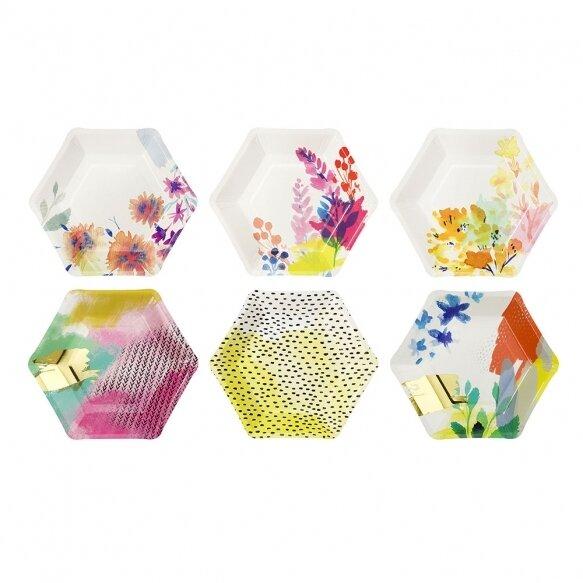 12 Paper Plates - Fluorescent Floral Paper Plates