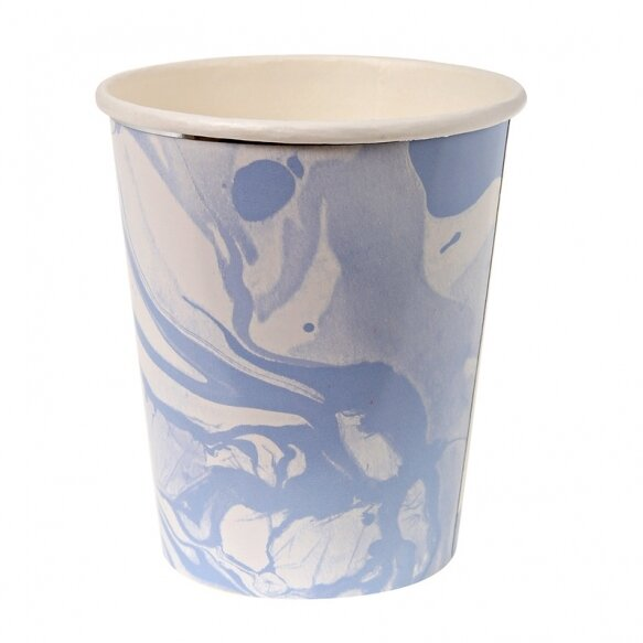 8 Paper cups - Marble Blue Pattern