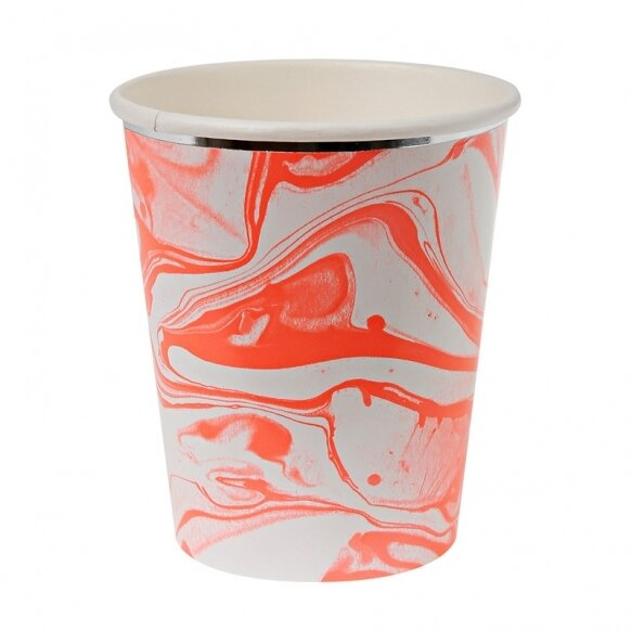 8 Paper cups - Marble Neon Orange Pattern