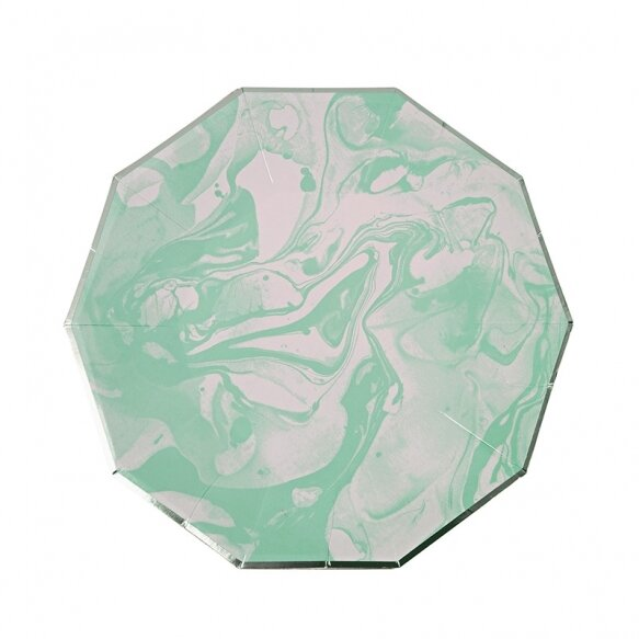 8 Paper Plates - Marble Mint Pattern Small