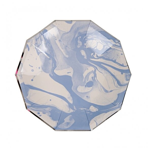 8 Paper Plates - Marble Blue Pattern Small