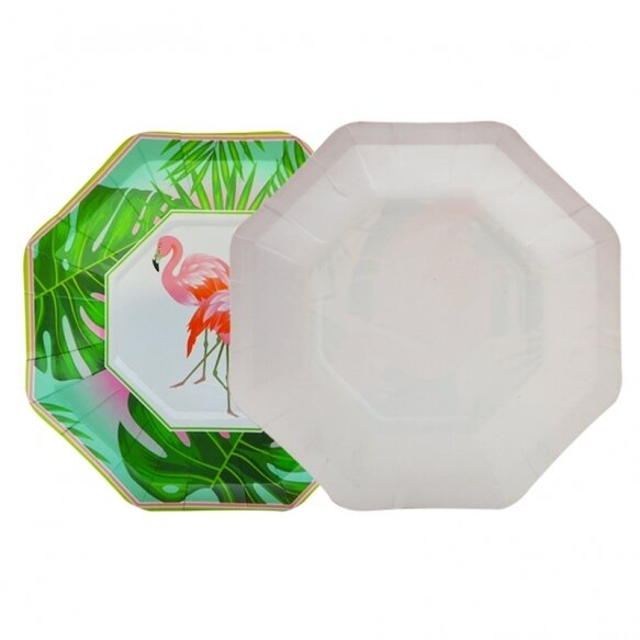 8 Paper Plates - Flamingo Mood Green Small