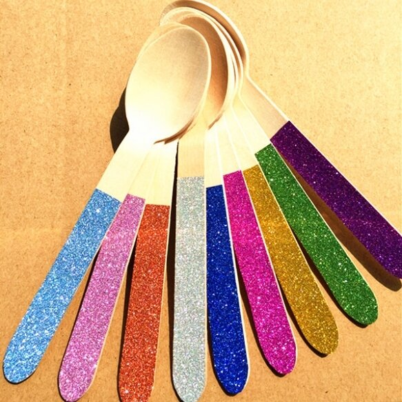 12 Glitter Wooden Spoons