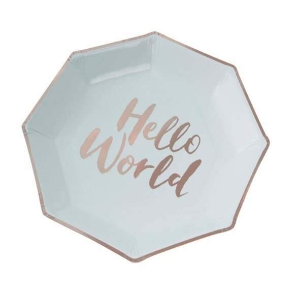 8 Mint & Rose Gold Paper Plates - Hello World