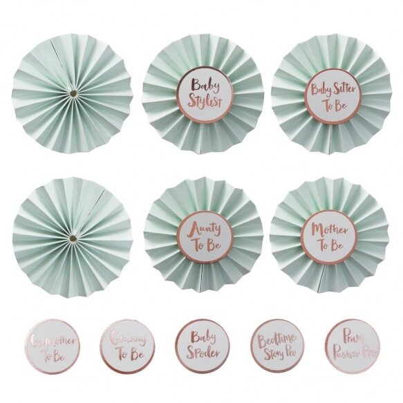 Baby Shower Badges In Mint & Rose Gold - Hello World