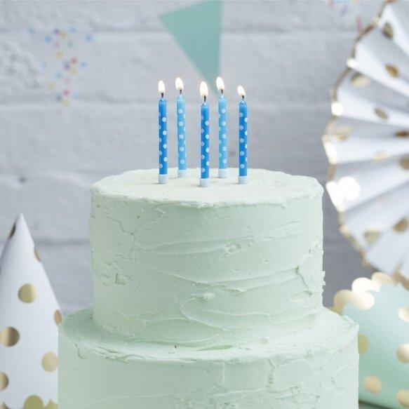 24 Light And Dark Blue Spot Candles