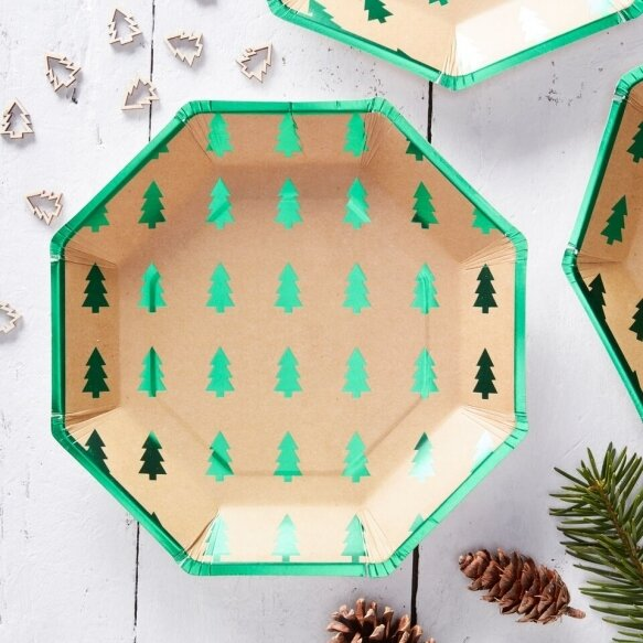 8 Green Foiled Christmas Tree Design Paper Plates