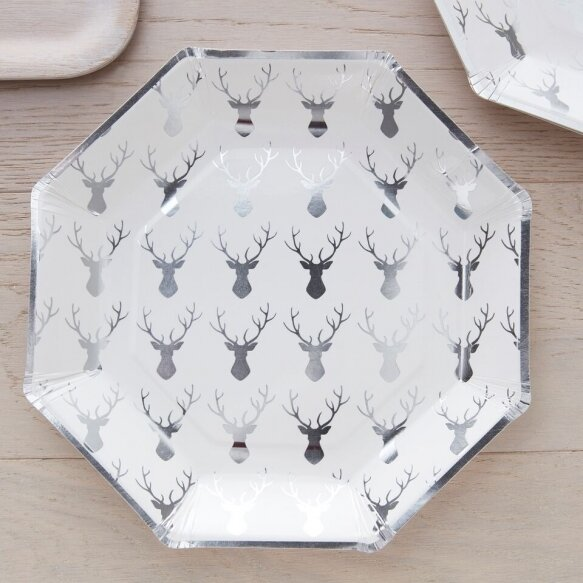 8 Silver Foiled Stag Pattern Plate