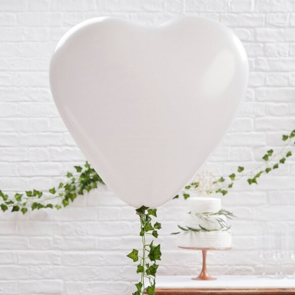 3 Large White Heart Balloons