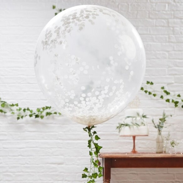 3 Large White Confetti Balloons