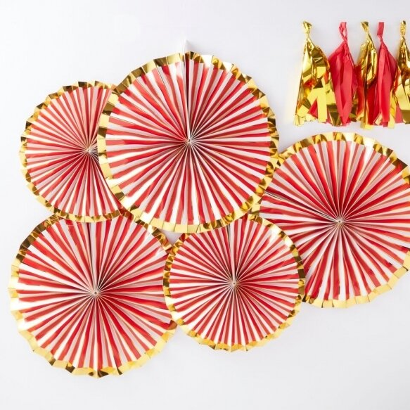 5 Gold Foiled Pinstripe Candy Fan Decorations