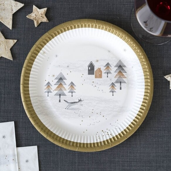 8 Nordic Christmas Paper Plates