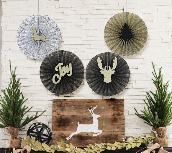 4 Christmas Paper Fans Pinwheel