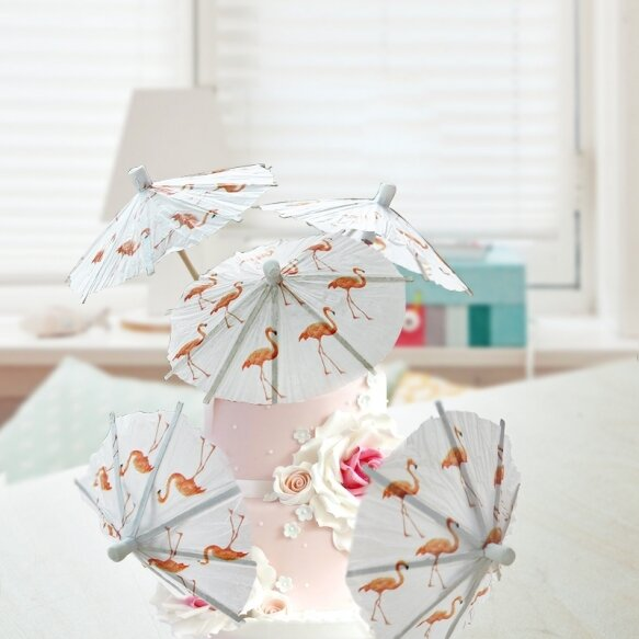 25 Flamingo Umbrella Cake Toppers