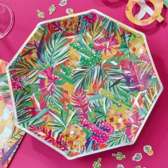 8 IRIDESCENT TROPICAL PRINT PAPER PLATES