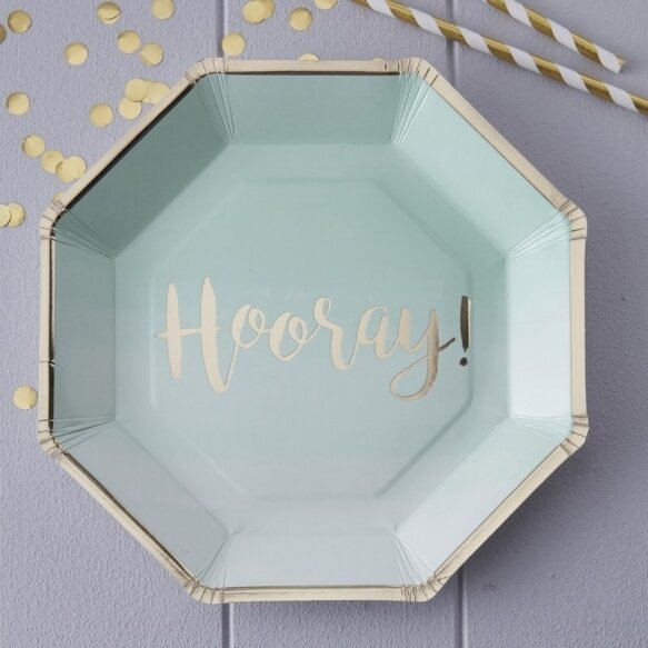 8 MINT & GOLD FOILED HOORAY PAPER PLATES