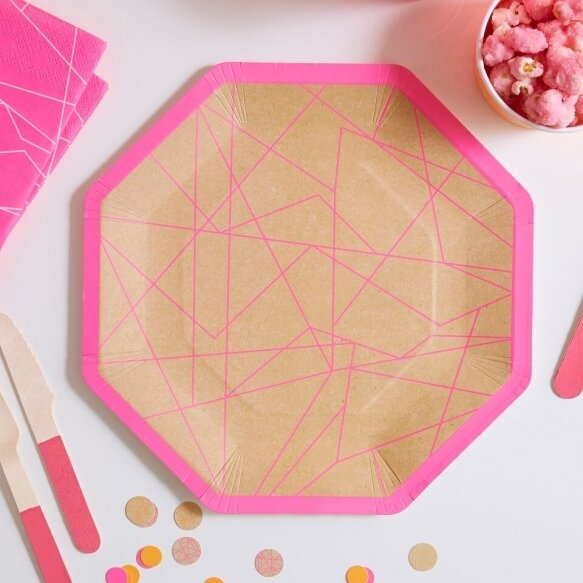 8 KRAFT & NEON PINK GEOMETRIC PAPER PLATES