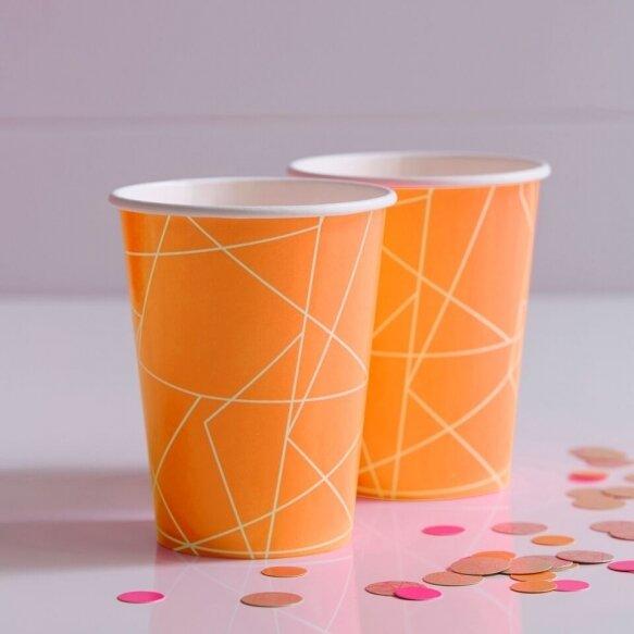 8 NEON ORANGE GEOMETRIC PAPER CUPS