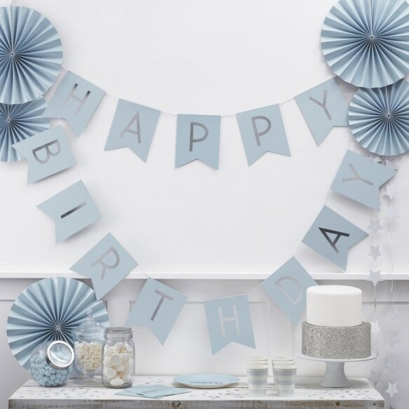BABY BLUE & SILVER FOIL HAPPY BIRTHDAY BUNTING