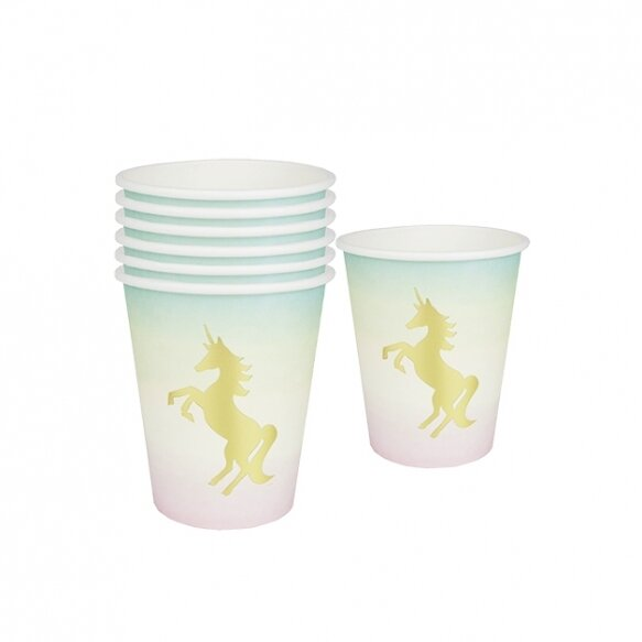12 Unicorns Pastel Paper Cups