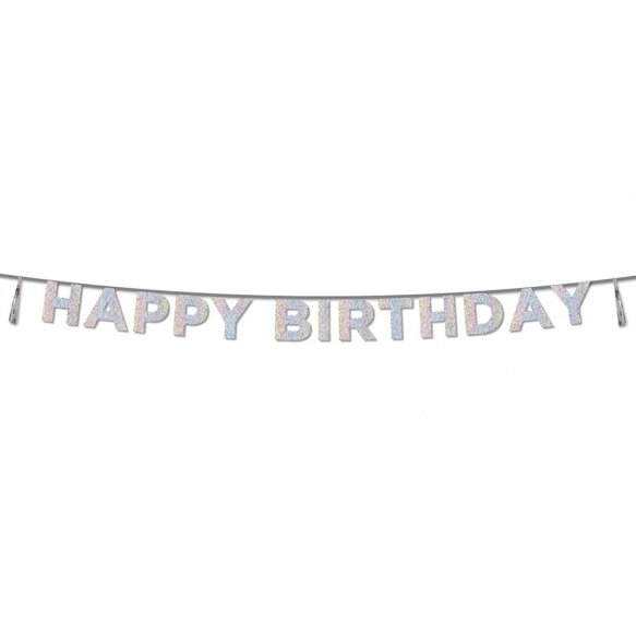 Glitter Iridescent 'Happy Birthday' Banner