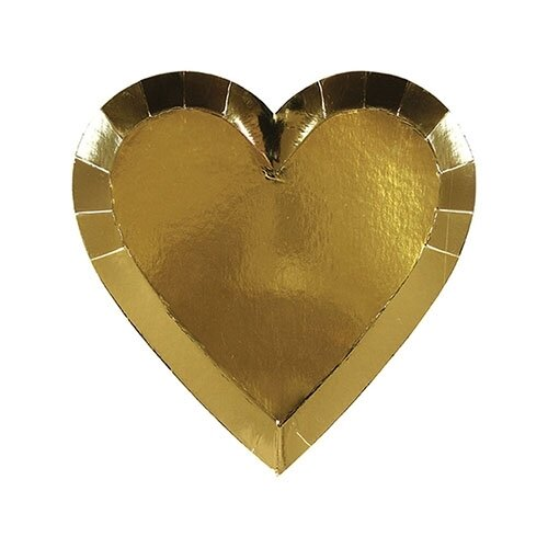8 Small Gold Heart Plates