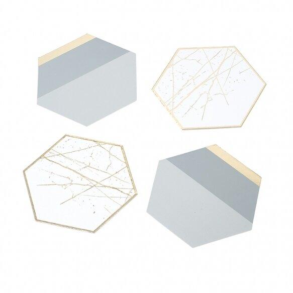12 Modern Metallics Hexagnoal Card Coasters
