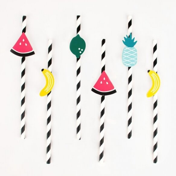 12 PAPER STRAWS - FRUITS