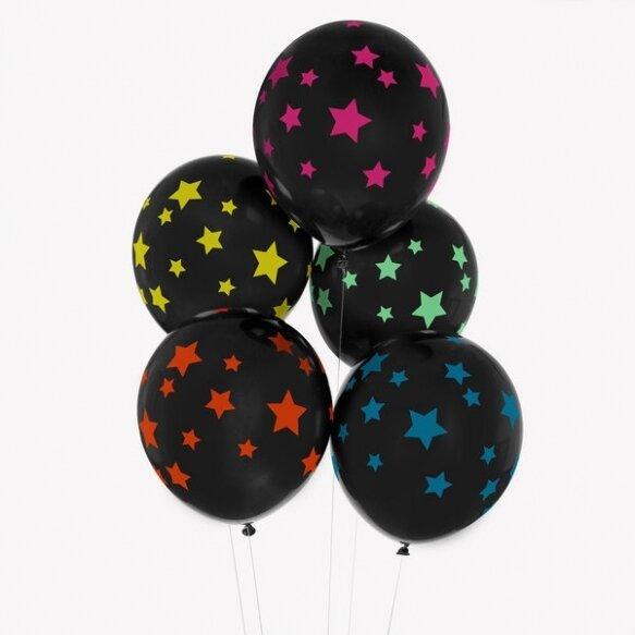 5 PRINTED BALLOONS - DISCO STARS