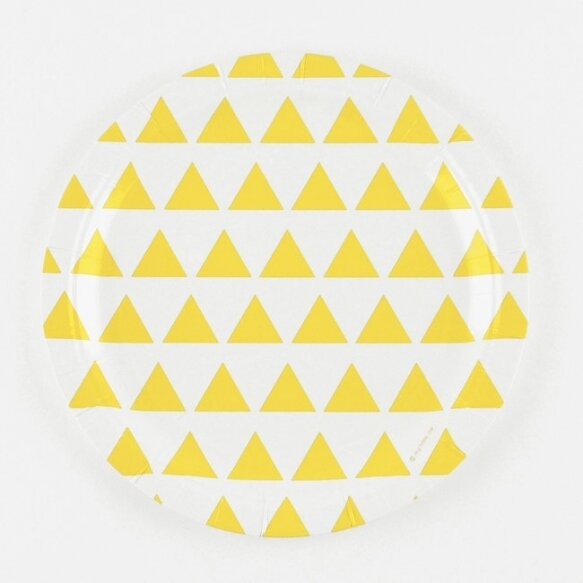 8 PAPER PLATES - YELLOW TRIANGLES