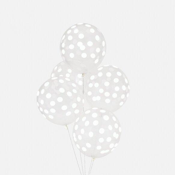 5 PRINTED CONFETTI BALLOONS - WHITE