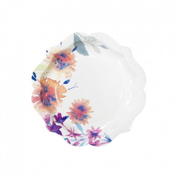 12 Fluorescent Floral Paper Plates