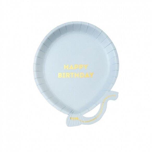 12 Blue Balloon Plates