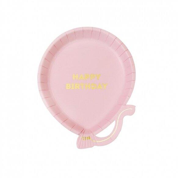 12 Pink Balloon Plates
