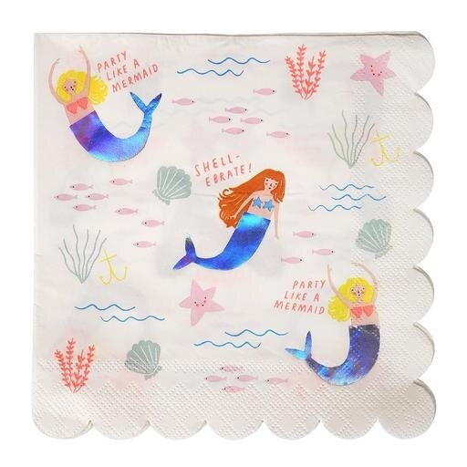 16 Let's Be Mermaids Large Napkins