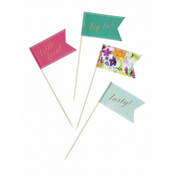 24 Floral Fiesta Canape Flags