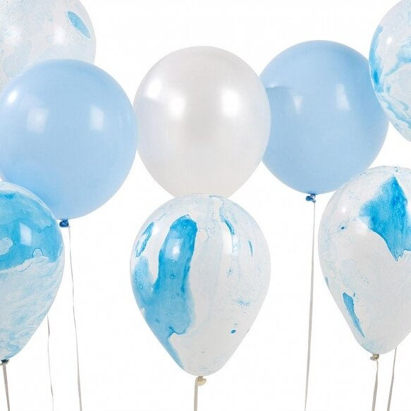 12 Blue Marble Balloons