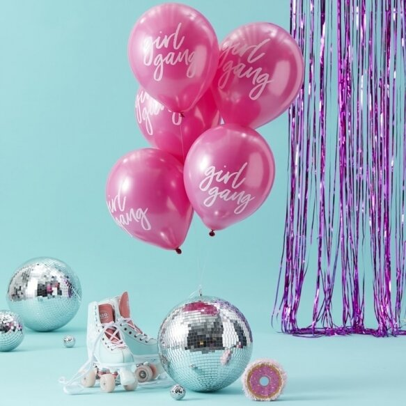 10 PINK GIRL GANG BALLOONS