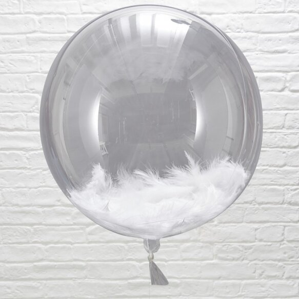 3 WHITE FEATHER FILLED ORB BALLOONS