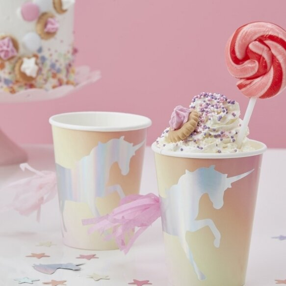 8 Unicorn tassel paper cups