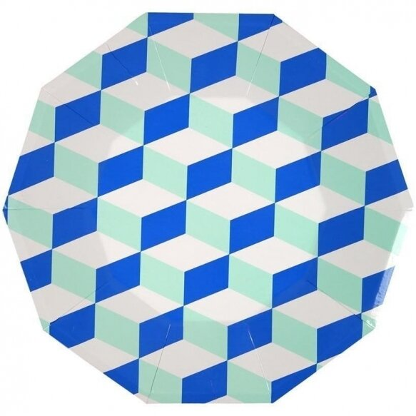12 Blue And Mint Patterned Plates