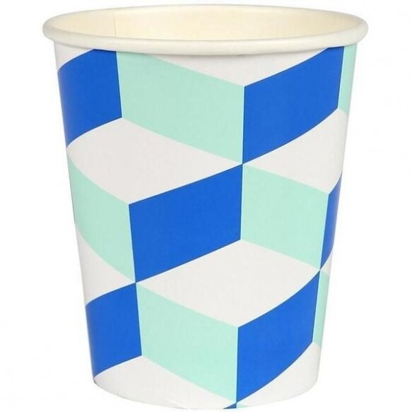 12 Blue And Mint Patterned Cup
