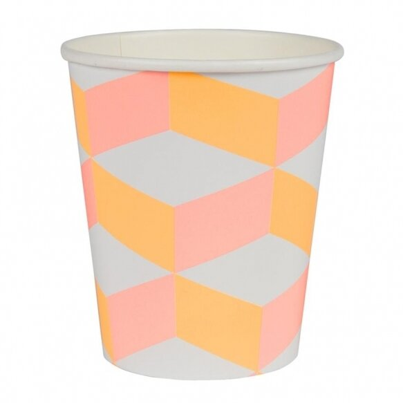 12 Pink And Orange Patterned Cups
