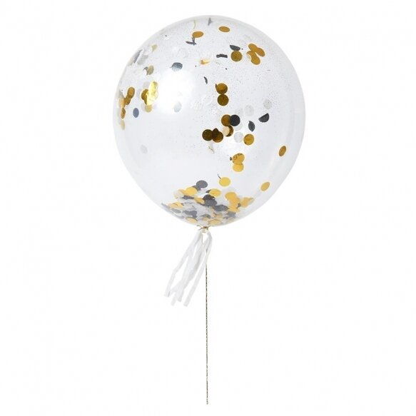 8 Gold & Silver Confetti Balloon Kit