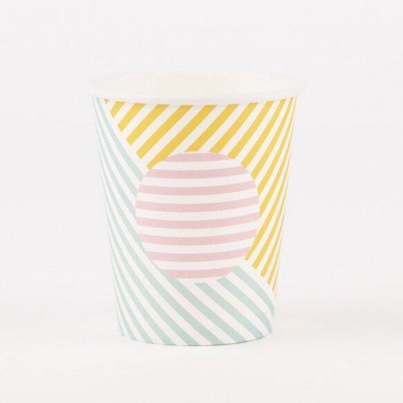 8 PAPER CUPS - PASTEL STRIPES